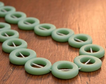 Mini jelly donuts resin beads Solid Mint Green 1 x strand 17 per strand all one size