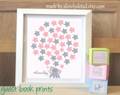 Elephant baby guestbook boy or girl Baby Shower New Baby  Elephant Guestbook Print  Personalized Print (Includes Instruction card)