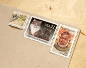 Vintage unused - Hemingway's Cats - postage stamps to post 5 letters - or use in scrapbooking and crafts