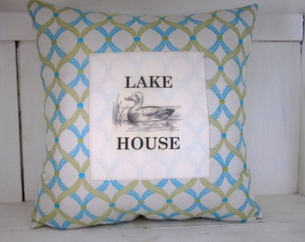 50% CLEARANCE SALE Decorative pillow, lake decor, turquoise pillow, shabby chic, farmhouse decor, lake house, rustic pillows, accent pillows