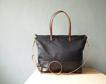 Diaper Tote Bag - SKYE - Unisex Large Black Waxed CANVAS top and LEATHER Base, Tan leather straps Zip Nappy Diaper Tote Everyday Market Bag