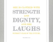 Girl Baptism gift - Yellow and Gray - Proverbs 31:25  - Print