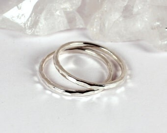 2 Hammered Silver Stacking Rings, Sterling Silver, Made to Order