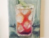 Sloe Gin Fizz .. original oil painting 5x7