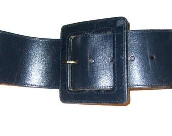 Vintage 80s NAF NAF Paris wide leather belt navy blue