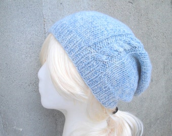Women's Slouchy Hat with Cable, Pale Blue, Silk and Cashmere, Hand Knit, Luxury Accessory