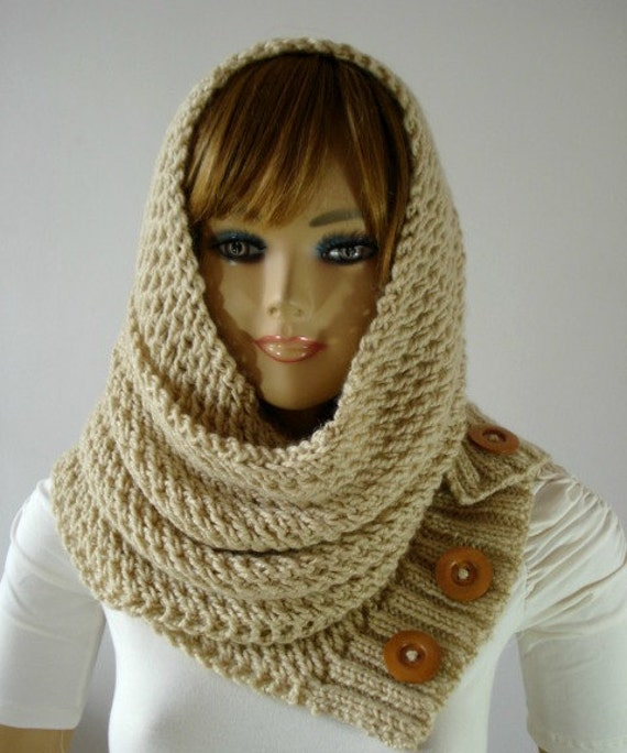 KNITTING PATTERN HOODED Cowl Scarf - LouLou Hood Scarf Cowl - Hooded Infinity...