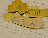Hotel room number rectangle brass plate - Custom hand punched -  hand stamped door tag - door plate - hotel door plate - drawer number plate