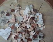 Hearts 'a flutter (800) BIRCH CONFETTI all NATURAL hand punched fresh white birch bark hearts free shipping