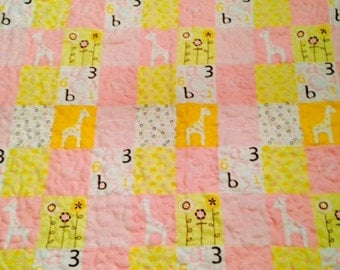 Sale Baby Quilt Flannel Quilt Receiving Blanket Reversible Giraffe's and Polka Dots Quilt