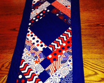 Quilted Table Runner Holiday Fourth of July Memorial Day Red White and Blue Long