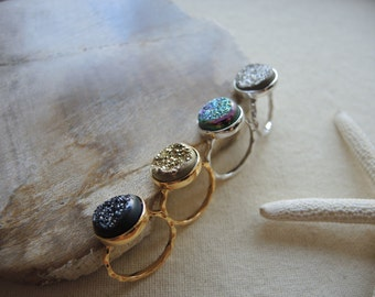 Druzy Ring, Agate Druzy Ring, Agate Window Druzy Titanium Coated Ring, 18K Gold Vermeil Ring, Druzy Stone Ring, Druzy Jewelry Gifts For Her
