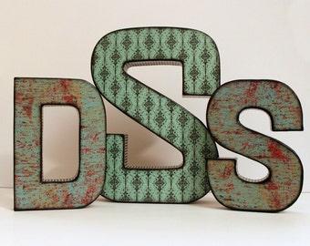 Monogram Letters - Choose Patterns - Wedding Display - Custom Design Monogram Letters - Home Decor Shelf Wall Letters - Wedding Centerpiece