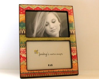Double 4x6 or 5x7 Wood Picture Frame Colorful Lace