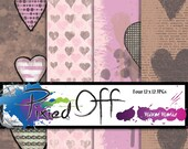 Mixed Media Heart - Four 12x12 Instant Download Digital Art Journal Scrapbook Sheets