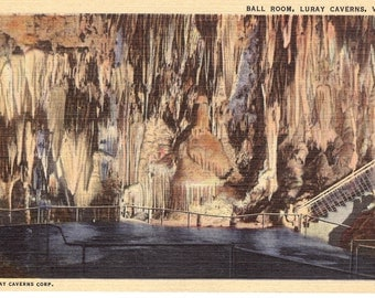 Vintage Linen Postcard...Ball Room, Luray Caverns VA,,,Unused...no. 2550
