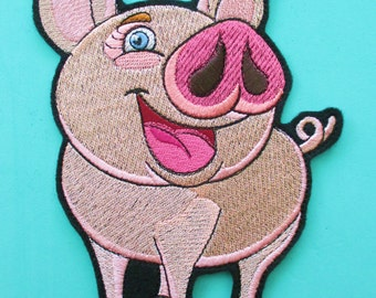 Large Embroidered Pink Pig Applique Patch, Little Piggy, Pink Pig, Farm Animal