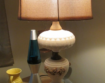 Mid Century Large Table Lamp With Crackled Ceramic.