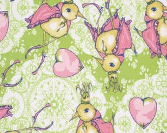 SALE Feather Flock by Tina Givens for Free Spirit - Dancing King - Apple - 1/2 yard cotton quilt fabric 516