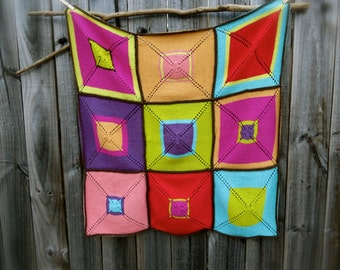 Americana 9 Patch Knitting Pattern by Big Bad Wool - PDF Download