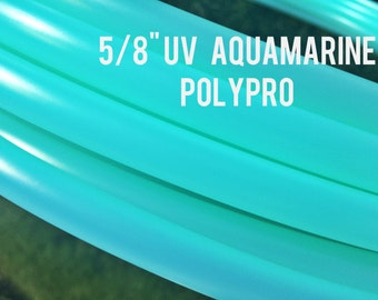 """UV Aquamarine 5/8""""  POLYPRO Dance & Exercise Hula Hoop COLLAPSIBLE push buttonor minis -  teal blue"""