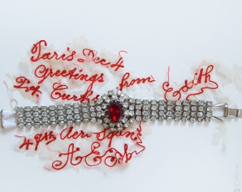 1950s Rhinestone Bracelet  / Ruby Red / Wide Cuff Studded Jewelry. - Holiday Gift., Vintage Costume Jewelry