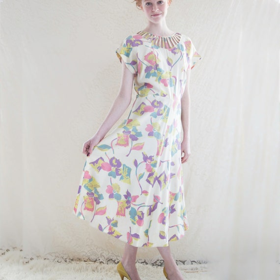 1940s Floral Dress. / Bias Cut, Tea Cup Length Dress. Spring Summer Fashion