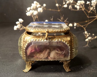 Antique French Ormolu  jewelry box .Trinket box.Shabby chic .Souvenir of Paris .Gold .