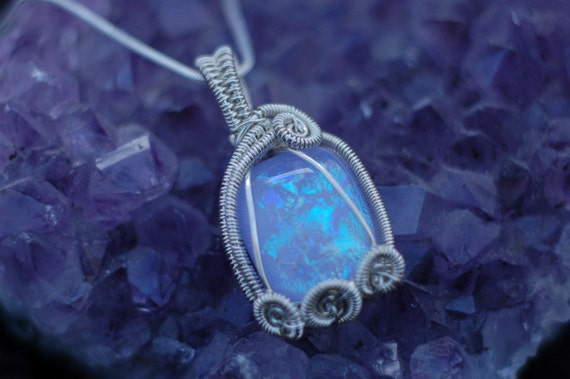 Pink and Light Blue Dichroic Glass Pendant in Sterling Silver / Small Wire Wrap Pendant / Art Glass Necklace