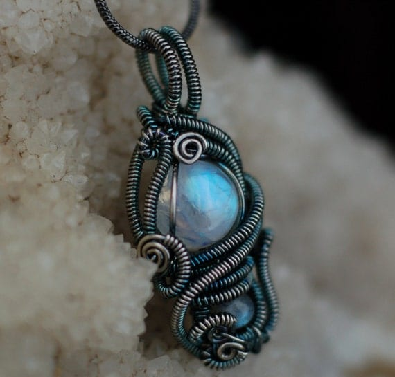 Rainbow Moonstone and Labradorite Pendant in Sterling Silver