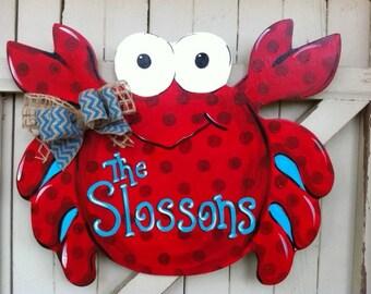 Crab Beach Wooden Door Hanger Personalized Monogram Burlap Bow