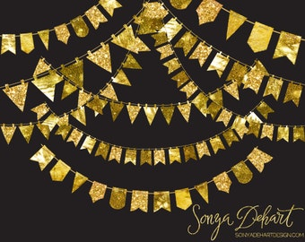 Gold Glitter Bunting, Gold Bunting Clipart, Bunting Clipart, Digital Bunting, Glitter Clipart, Gold Bunting, Gold Clipart