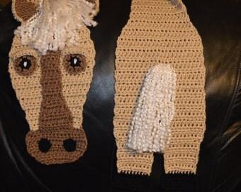 Crocheted Horse Scarf in Buff