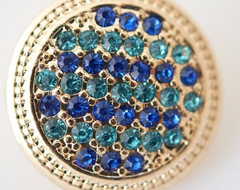 1 PC 18MM Blue Rhinestone Gold Candy Snap Charm KB6224 Cc0201