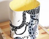 Fabric basket ,Yellow lining ,Storage Basket , Eco friendly ,Cotton ,Organizer Bin Basket ,Home Organization