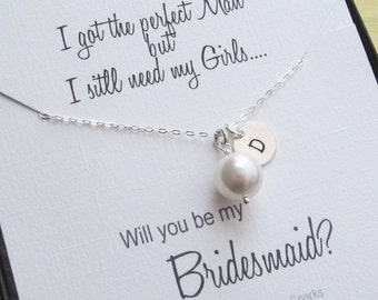 SET of 5 Bridesmaids Gifts, Personalized bridesmaids Necklace, Bridal Party Gift, Pearl Necklace, Bridal Jewelry, Bridesmaid Jewelry Idea