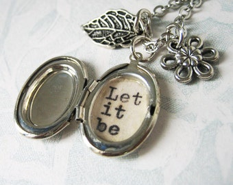 let it be beatles inspirational necklace locket  jewelry with  quote pendant beatles song locket with message necklace for women