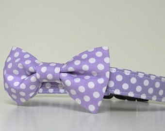 Lavender Purple Polka Dot Bow Tie Dog Collar Easter Collar Wedding Accessories Made to Order