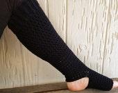 Handcrafted Extra Long Yoga Socks - Slouchy Leg Warmers - Black - Acrylic Blend Yarn - Crocheted - Ticklebebe Original