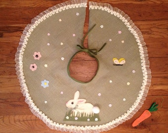 Easter Tree Skirt with Carrot Ornament OOAK