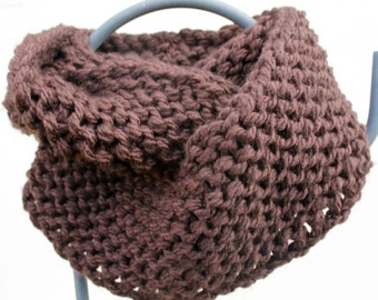 Outlander Inspired Chunky Hand Knit Infinity Scarf Gorgeous Chocolate Brown