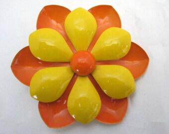Orange Yellow Enamel Flower Brooch Pin