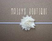 75% Off Mini Ivory Shabby Flower Headband/ Newborn Headband/ Baby Headband/ Flower Girl/ Wedding/ Photo Prop