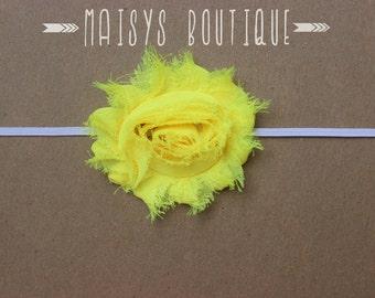 75% Off- Neon Yellow Shabby Flower Headband/ Newborn Headband/ Baby Headband/ Photo Prop