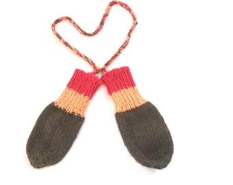 Rasta Baby Mitts - Organic Vegan Knit Thumbless Mittens - Organic Cotton Knitted Chidlren Mittens - String Attachment - Rasta Baby