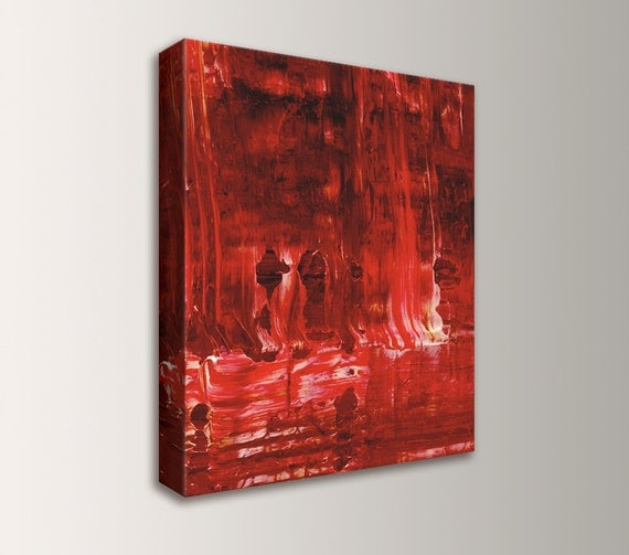 Wall Art Canvas Red : Red abstract painting canvas wall art modern