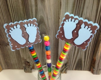 Set of 12 BLUE BABY FEET Candy Sleeve or Favor Bag Clips - Baby Shower - Decorations/Favors - Bag/Sleeve Included - Blue and Brown