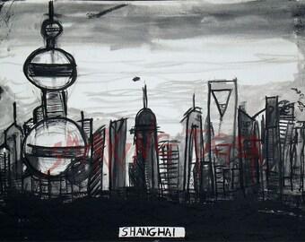 Shanghi Print: Shanghi. China Skyline, 11X14