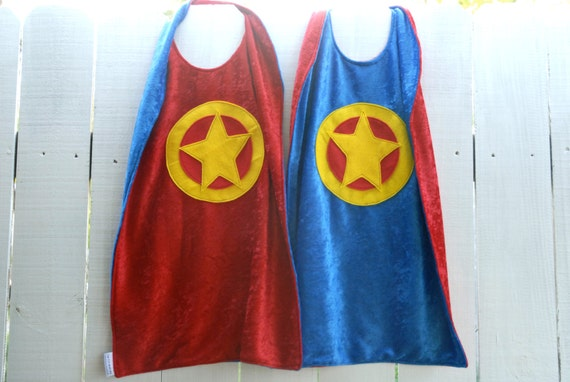 Twin Set of 2 Super Hero Capes RED and BLUE - Birthday Cape - Halloween Costume - Super Kid Capes