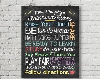 Custom Personalized Classroom rules Teacher Digital Chalkboard Word Art 11x14 or 8x10 - Back to School Teacher Appreciation Gift